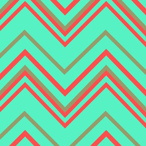 chevron white with mint_red_muddy green