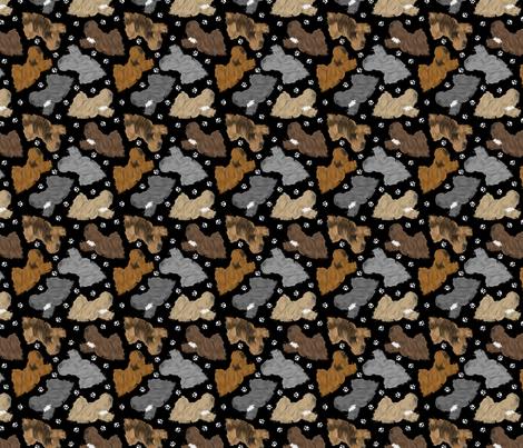 Trotting Lhasa Apso and paw prints - tiny black fabric by rusticcorgi on Spoonflower - custom fabric