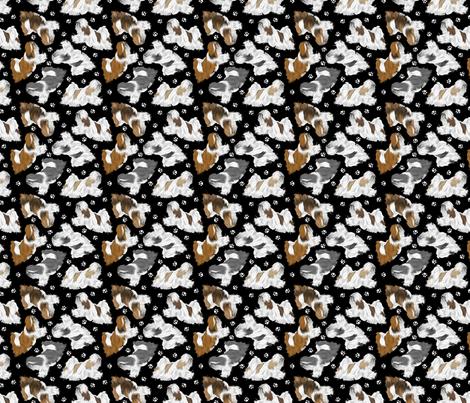 Trotting Lhasa Apso and paw prints B - tiny black fabric by rusticcorgi on Spoonflower - custom fabric