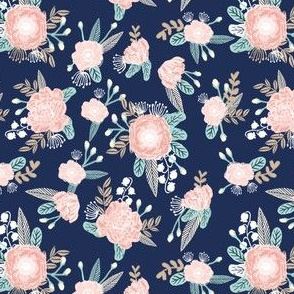 SMALL florals - navy blue, blush pink, taupe fabric