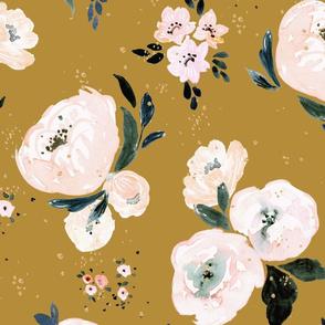 Janice Floral vintage mustard XL