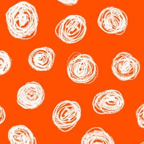 jumbo chalk pastel dots on solar orange