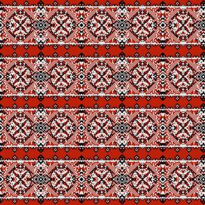 Ukranian Folk Art Red Black on White