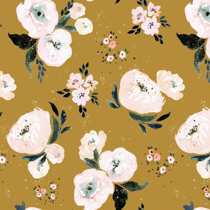 Janice Floral vintage mustard Lg