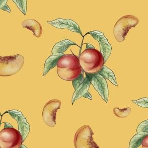 peachy on yellow