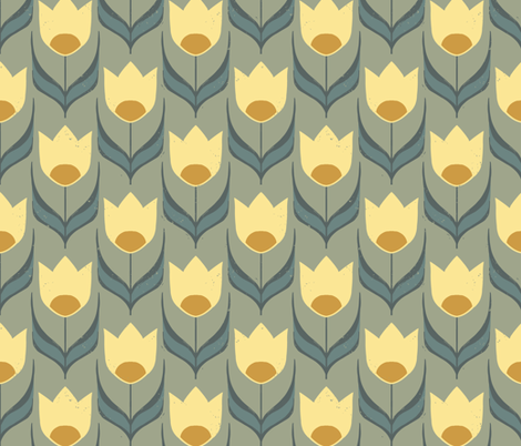 Retro Tulip Tea Garden { ochre } fabric by mintedtulip on Spoonflower - custom fabric