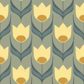 Retro Tulip Tea Garden { ochre }