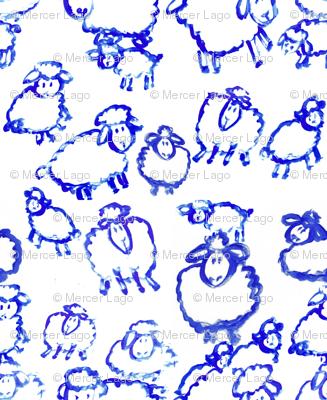 blue sheep painted sheep lambs