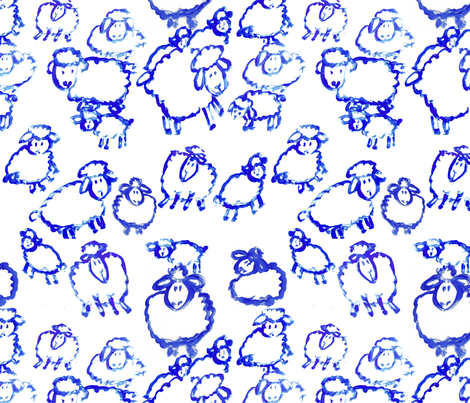 blue sheep painted sheep lambs fabric by jenlats on Spoonflower - custom fabric