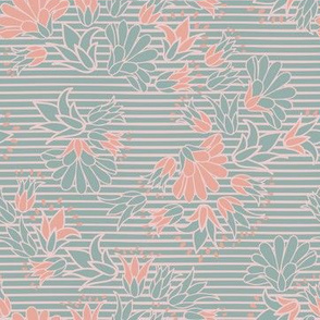 Green Pink Flowers on Stripes