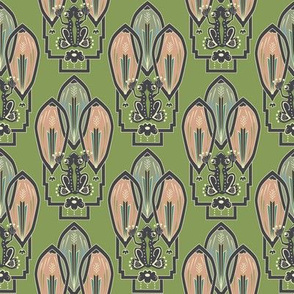 Frog Deco Pattern 4x4 by Tresa Meyer-Clark