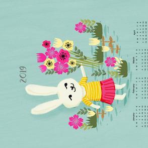 2019 bunny tea towel calendar - cute bunny, rabbit, flowers, florals, illustration