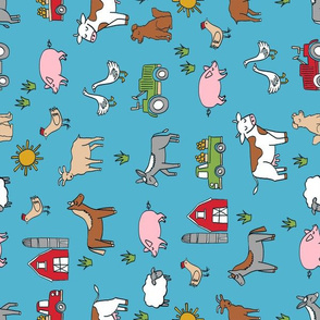 farm // nursery kids gender neutral cow chicken pig barn farms fabric blue