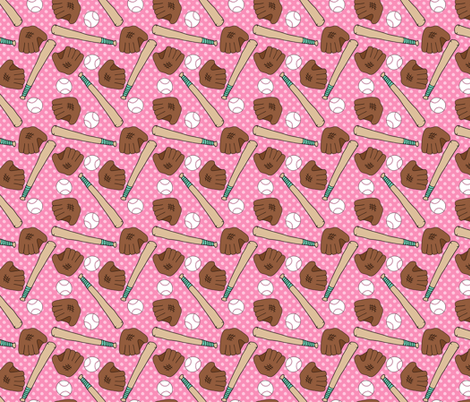 Pink Baseball Patter fabric by northern_whimsy on Spoonflower - custom fabric