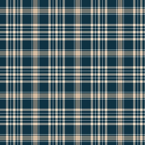 Navy Blue and Beige Plaid