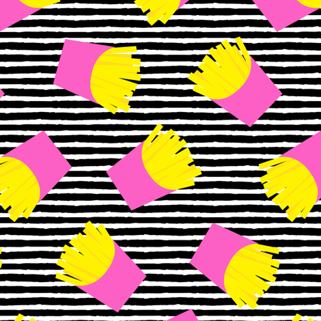 fries (pink on black stripes) - French fries fabric by littlearrowdesign on Spoonflower - custom fabric