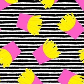 fries (pink on black stripes) - French fries
