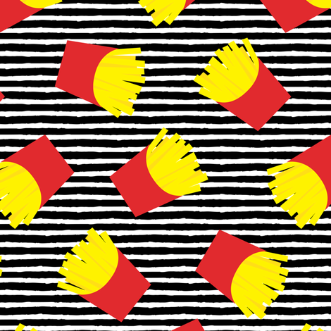 fries (red on black stripes) - French fries fabric by littlearrowdesign on Spoonflower - custom fabric