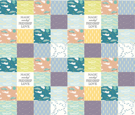 Whole cloth cheater quilt- Magic, Mischief, Friendship, Love fabric by katie_hayes on Spoonflower - custom fabric