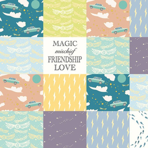 Whole cloth cheater quilt- Magic, Mischief, Friendship, Love