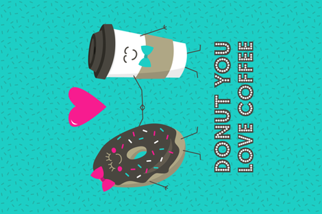 Donut You Love Coffee Tea Towel fabric by robyriker on Spoonflower - custom fabric