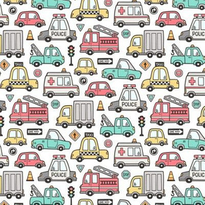 Cars Vehicles Doodle fabric on White Smaller 1,5 inch