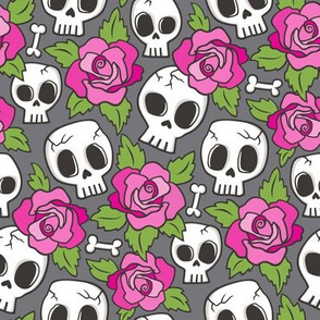 Skulls and Roses  Pink on Dark Grey Smaller