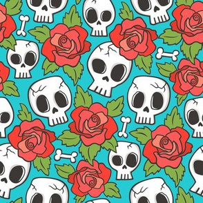 Skulls and Roses Red on Blue Smaller