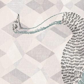 Portrait of a majestic ostrich, Tea Towel