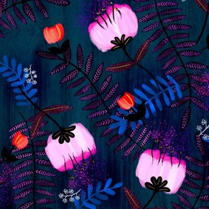 Modern Floral - Bright Pink and Red on Navy