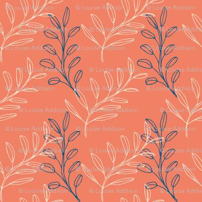 Homeland Flora Floating Leaves in Tangerine