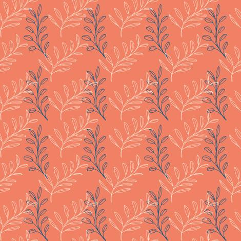 Homeland Flora Floating Leaves in Tangerine fabric by radgedesign on Spoonflower - custom fabric