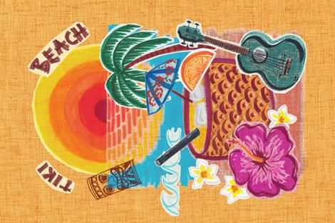 Tiki Beach Tea Towel fabric by juliaschumacher on Spoonflower - custom fabric