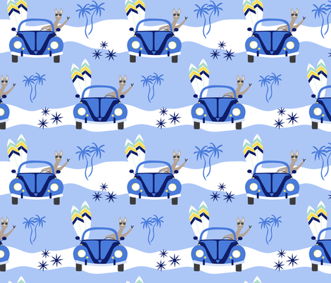Let's go surfing! - bright blue fabric by vivdesign on Spoonflower - custom fabric