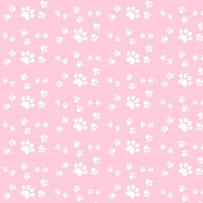 paw prints 467- white on pink