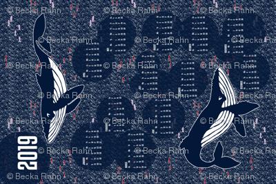 2019 Whales Calendar Tea Towel