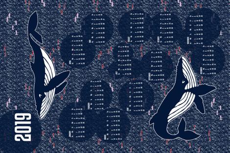 2019 Whales Calendar Tea Towel fabric by beckarahn on Spoonflower - custom fabric