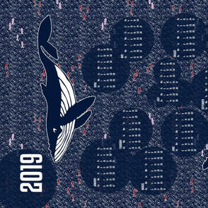 2019 Whales Calendar Tea Towel
