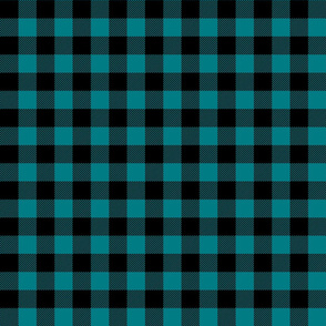 buffalo plaid 1in dark teal blue
