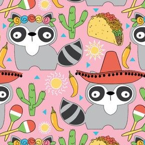 mexican raccoons on pink