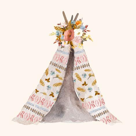 "8"" Autumn Love Teepee - Ivory fabric by shopcabin on Spoonflower - custom fabric"