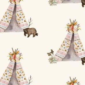 "4"" Autumn Love Teepee and Bear - Ivory"