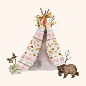 "8"" Autumn Love Teepee and Bear - Ivory"