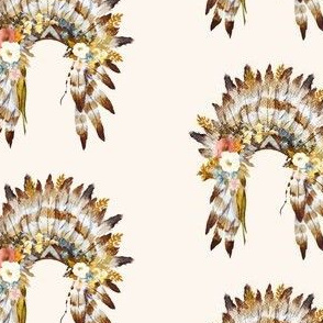 "4"" Autumn Love Floral Headdress - Ivory"