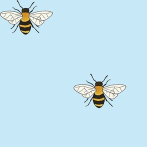 Bees on light blue