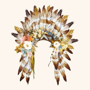 "8"" Autumn Love Floral Headdress - Ivory"
