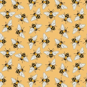 Busy Bees - on apricot orange