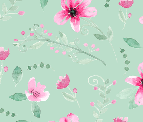 Watercolor Fushia and Jade - mint  fabric by harpley_design_studio on Spoonflower - custom fabric