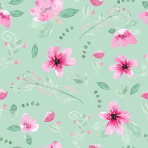 Watercolor Fushia and Jade - mint