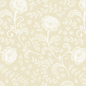 Lace full pattern - White and Cream